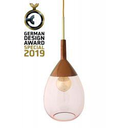 Suspension goutte design en verre soufflé Lute, diamètre 22 cm, Ebb & Flow, Corail, partie supérieure cuivré et câble doré