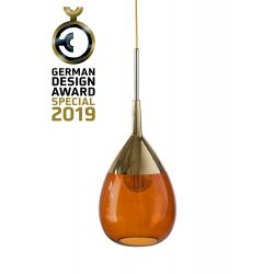 Suspension goutte design en verre soufflé Lute, diamètre 22 cm, Ebb & Flow, Rouille, partie supérieure doré et câble doré