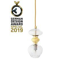 Suspension verre soufflé Futura, diamètre 11 cm, Ebb & Flow, Transparent, partie supérieure doré et câble doré