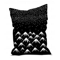 Pouf velours Montagnes blanches fond noir, 145 x 115 cm, collection Mountain Sélection, Pôdevache