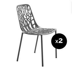 Lot de 2 chaises design Forest, Fast gris métal