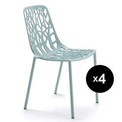 Lot de 4 chaises design Forest, Fast bleu pastel