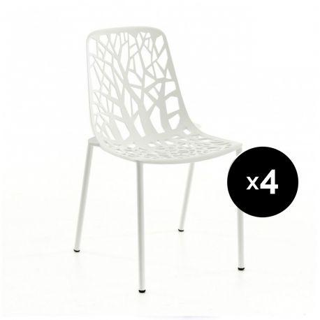 Lot de 4 chaises design Forest, Fast blanc