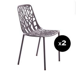 Lot de 2 chaises design Forest, Fast bleu nuit