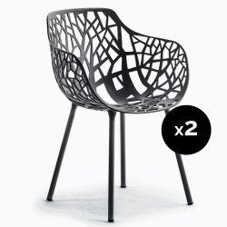 Lot de 2 fauteuils design Forest, Fast bleu nuit