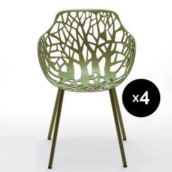 Lot de 4 fauteuils design Forest, Fast thé vert
