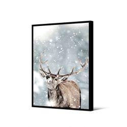 Toile encadré Cerf dans la neige 65 x 92,5 cm, collection My gallery, Pôdevache
