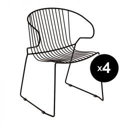 Lot de 4 fauteuils Bolonia, Isimar, noir nuit