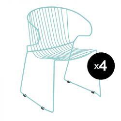 Lot de 4 fauteuils Bolonia, Isimar, bleu turquoise