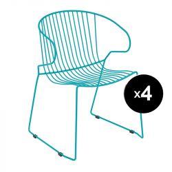 Lot de 4 fauteuils Bolonia, Isimar, bleu agathe
