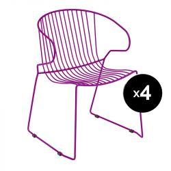 Lot de 4 fauteuils Bolonia, Isimar, violet