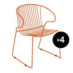 Lot de 4 fauteuils Bolonia, Isimar, rouge geranium