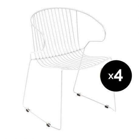 Lot de 4 fauteuils Bolonia, Isimar, blanc