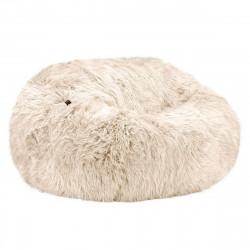 Pouf Vetsak, taille L, fausse fourrure à poils longs beige
