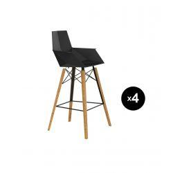 Lot de 4 chaises haute avec accoudoirs hauteur 63cm, Faz Wood, Vondom, noir, pieds chêne naturel