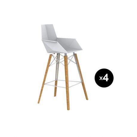 Lot de 4 chaises haute avec accoudoirs hauteur 63cm, Faz Wood, Vondom, blanc, pieds chêne naturel