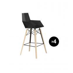 Lot de 4 chaises haute avec accoudoirs hauteur 63cm, Faz Wood, Vondom, noir, pieds chêne blanchis