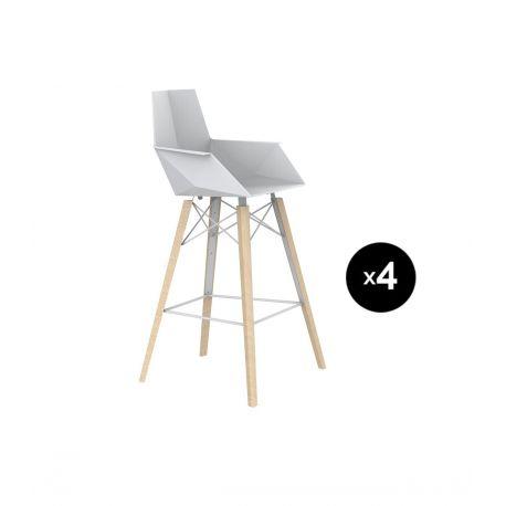 Lot de 4 chaises haute avec accoudoirs hauteur 63cm, Faz Wood, Vondom, blanc, pieds chêne blanchis