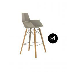 Lot de 4 chaises haute avec accoudoirs hauteur 63cm, Faz Wood, Vondom, écru, pieds chêne naturel