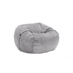 Pouf Vetsak, taille M, velours cotelé gris clair, D110cm x H70 cm