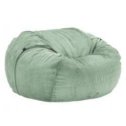 Pouf Vetsak, taille L, velour cotelé vert pâle