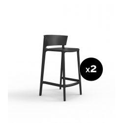 Set de 2 tabourets de cuisine design Africa, hauteur d'assise 65 cm, Vondom noir