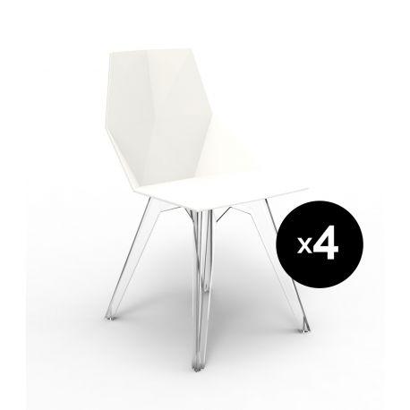Lot de 4 chaises Faz, Vondom blanc