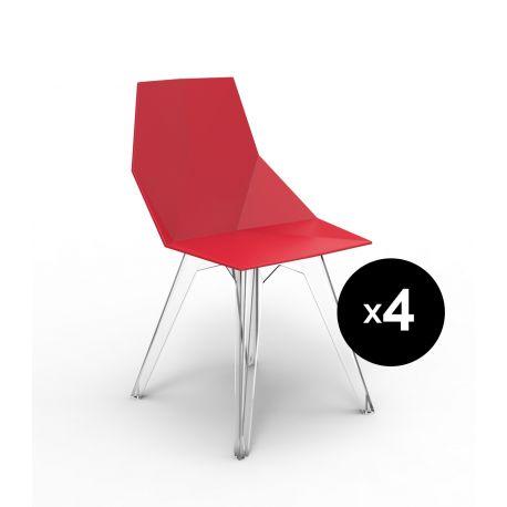 Lot de 4 chaises Faz, Vondom rouge