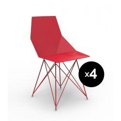Lot de 4 chaises Faz inox, Vondom rouge Sans accoudoirs
