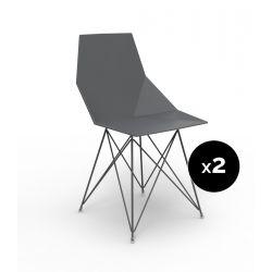 Lot de 2 chaises Faz inox, Vondom noir Sans accoudoirs