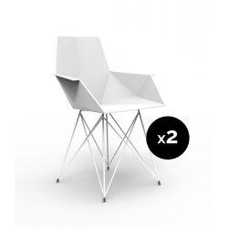 Lot de 2 chaises Faz inox, Vondom blanc Avec accoudoirs