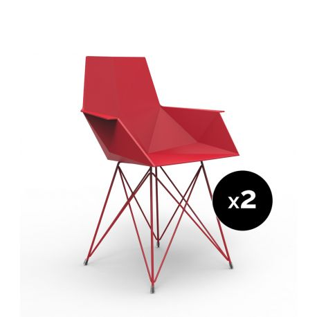Lot de 2 chaises Faz inox, Vondom rouge Avec accoudoirs