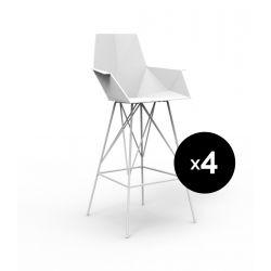 Lot 4 tabourets haut Faz, hauteur d'assise 66cm, Vondom blanc Avec accoudoirs
