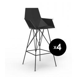Lot 4 tabourets haut Faz, hauteur d'assise 66cm, Vondom noir Avec accoudoirs
