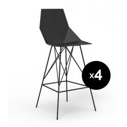 Lot 4 tabourets haut Faz 102 cm, hauteur d'assise 66 cm, Vondom noir Sans accoudoirs