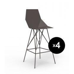 Lot 4 tabourets haut Faz 102 cm, hauteur d'assise 66 cm, Vondom bronze Sans accoudoirs