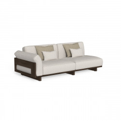 Canapé modulaire angle droit Argo, Talenti bois foncé & beige