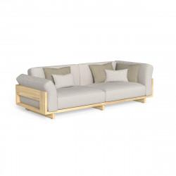 Canapé d'angle modulaire Argo, Talenti bois clair & beige