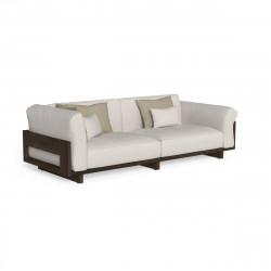 Canapé d'angle modulaire Argo, Talenti bois foncé & beige