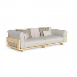 Canapé d'angle (à droite) modulaire Argo, Talenti bois clair & beige