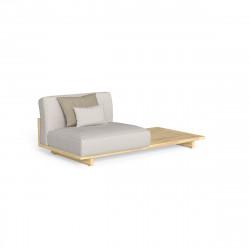 Divan modulaire gauche + table Argo, Talenti bois foncé & beige