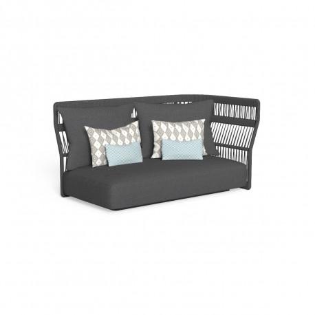Canapé modulaire angle gauche, dossier en corde Cliff, Talenti gris