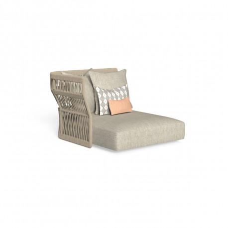 Méridienne modulaire angle droit, dossier en corde Cliff, Talenti beige taille XL