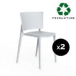 Set de 2 chaises Africa Revolution® en plastique recyclé, Vondom blanc Milos 4023