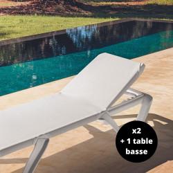 Lot de deux bains de soleil Bali avec une table basse Bali, Myyour blanc