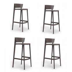 Set de 4 tabourets de bar Africa hauteur d'assise 74,5 cm, Vondom noir