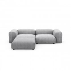Canapé d\'angle Vetsak, velours côtelé couleur gris clair L.231 x H.60 x P.115,5 cm
