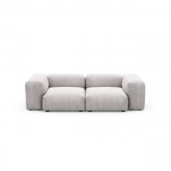 Canapé deux places avec accoudoirs Vetsak, velours côtelé couleur platinium