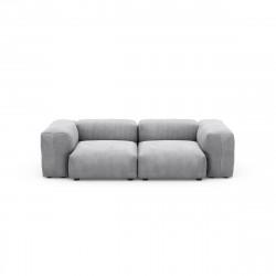 Canapé deux places avec accoudoirs Vetsak, velours côtelé couleur gris clair