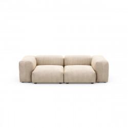 Canapé deux places avec accoudoirs Vetsak, velours côtelé couleur sable